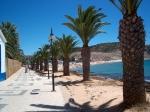 Mooie palmen boulevard met daarachter het strand in Praia da Luz, een kuststadje niet ver van Lagos.