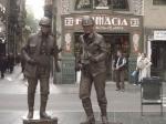 Levende standbeelden op La Rambla.