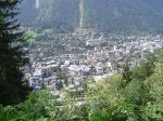 Zicht op Chamonix vanop het wandeldorp Chamonix Sud.