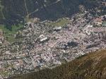 Zicht op Chamonix vanop de Aiguille du Midi. Bij goed weer is in de verte zelfs de Matterhorn te zien.