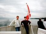 EffeVee en BeeGee op de boot op het meer van Genève.
