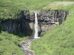 De Svartifoss waterval is omgeven door kolommen van zwart basalt, vandaar zijn naam : zwarte waterval.