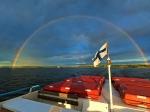 Regenboog tiijdens de overzet van Helsinki naar Stockholm.