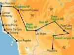 Overzichtkaartje met het traject van de rondreis.