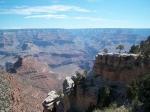 Zicht op Grand Canyon vanaf Hermits Rest. In de loop van miljoenen jaren heeft het water van de Colorado deze kloof in het landschap doen ontstaan.
