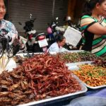 Een kraampje met geroosterde sprinkhanen, schorpioenen en andere creepy crawlers in Chinatown.