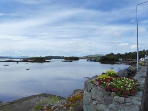 Glengarriff baai met Garinish Island waarop begin vorige eeuw Italiaanse en Japanse tuinen zijn aangelegd.