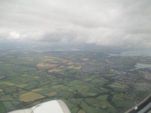 Zicht op Cork na het opstijgen.