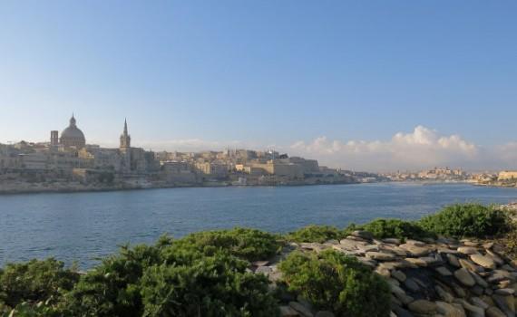 Zicht op Valetta vanaf Tigné Point, Malta