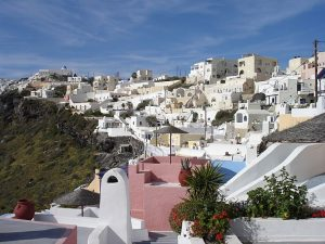 Dorp Firostefani op Santorini, Cycladen, Griekenland